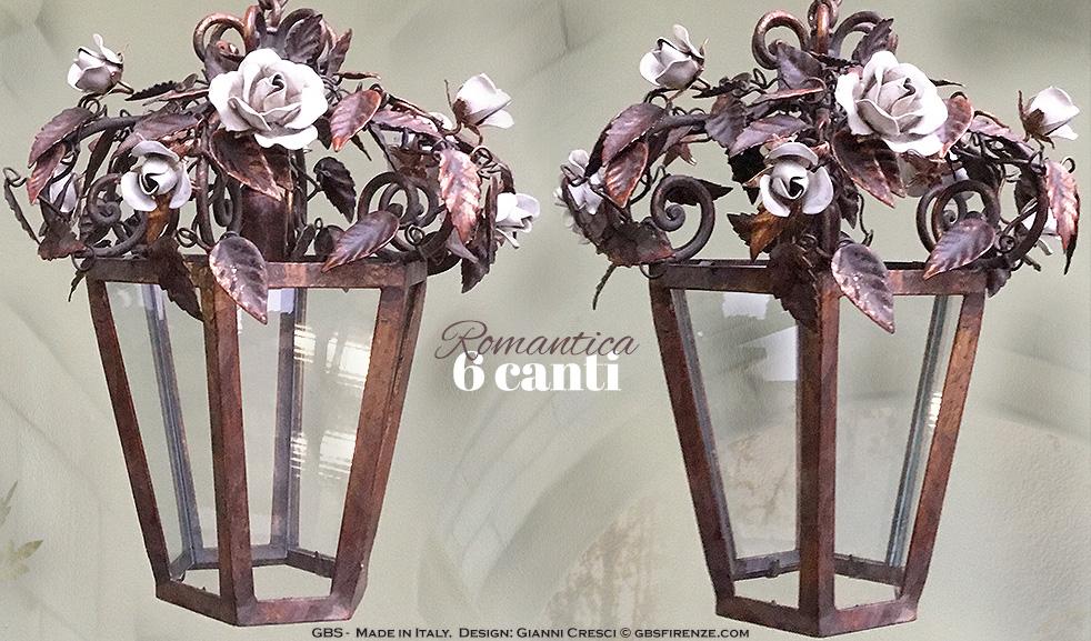 Lanterna Romantica. 6 Canti. Oro Vecchio e smalto. Rose Fiorite.