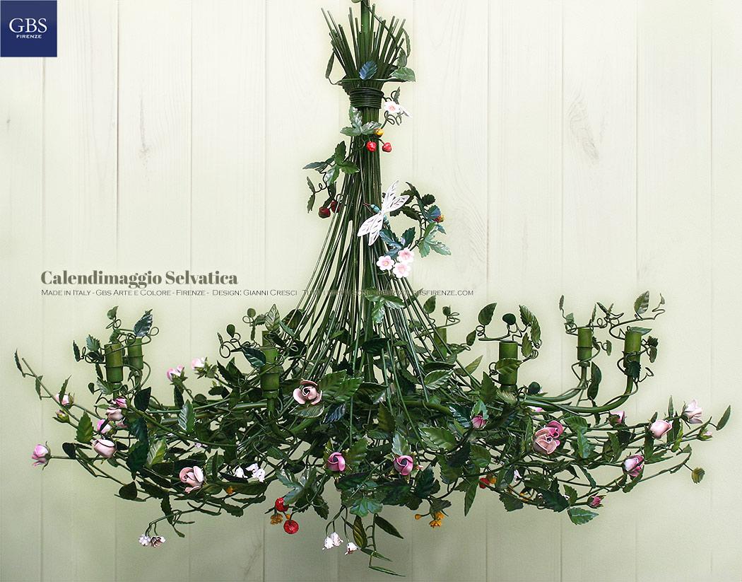 Calendimaggio Bocci di Rosa. Con Libellula, fiori e frutti di Bosco. 8 luci