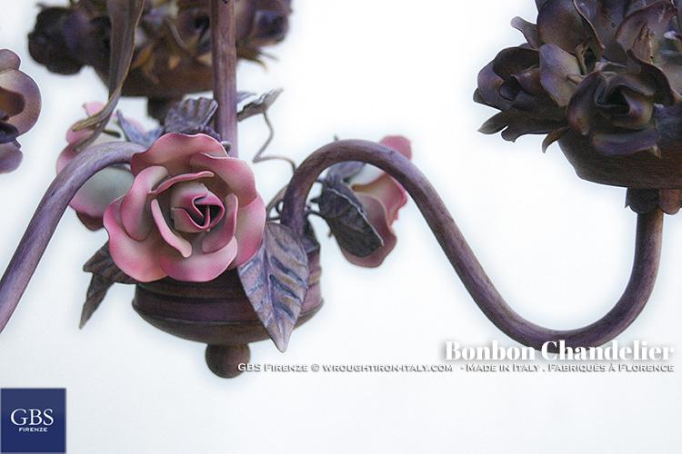 Dettaglio Rose. Lampadario Bonbon. GBS Firenze. Made in Italy