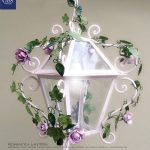 Romantica. Ivy and Roses Lantern. Design Gianni Cresci for GBS. Made in Italy Hand-painted wroughtiron iron.
