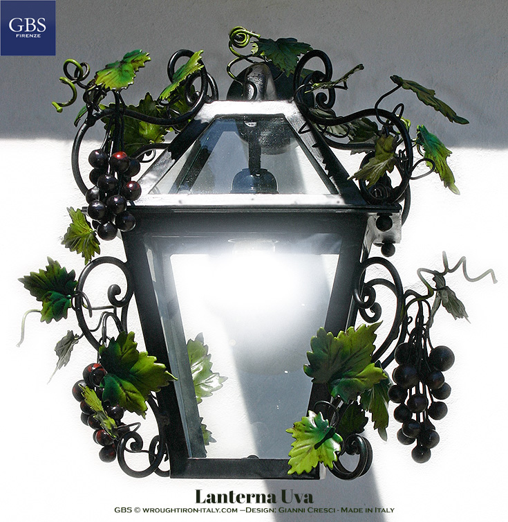 Lantern with Grapes and Tendrils. Forged scrolls, white lantern, aged enamel finish. Hanging version also available.