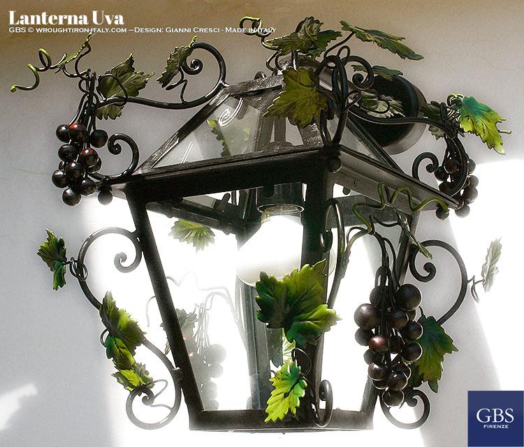 Grapes Lantern. Wrought iron. Lanterna uva. GBS. Ferro battuto. Design Gianni Cresci