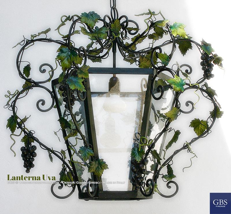 Lanterna Sospensione esagonale Uva e Viticci. Su misura. Ferro battuto e decorato a mano. GBS. Design Gianni Cresci