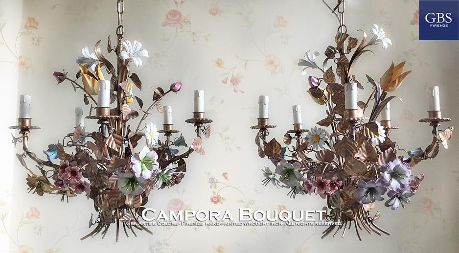 Campora Bouquet Chandelier - 5 Lights Campora. Lampadario a 5 Luci. Ferro battuto e decorato a mano.